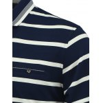 Striped Turn-Down Collar Long Sleeve Polo T-Shirt deal