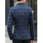 cheap One-Button Checked Lapel Long Sleeve Blazer