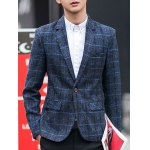 One-Button Checked Lapel Long Sleeve Blazer