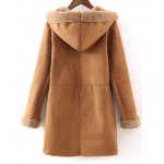 cheap Fur Lined Long Sleeve Hooded Suede Coat