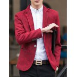 One-Button Edging Lapel Long Sleeve Cotton+Linen Blazer
