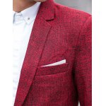 One-Button Edging Lapel Long Sleeve Cotton+Linen Blazer deal