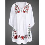Elegant 1/2 Sleeve Embroidered Plus Size Women Dress