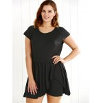 cheap Scoop Neck Overlay Ruched Romper