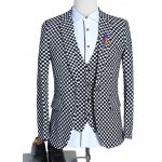 cheap Lapel Single Breasted Long Sleeve Plaid Three-Piece Suit ( Blazer + Waistcoat + Pants )