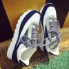 Splicing Color Block Tie Up Athletic Shoes for sale