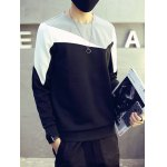 cheap Plus Size Round Neck Color Block Splicing Design Long Sleeve Sweatshirt