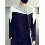 Plus Size Round Neck Color Block Splicing Design Long Sleeve Sweatshirt