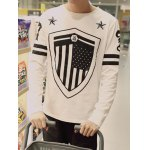 Plus Size Round Neck Star and Shield Print Varsity Stripe Long Sleeve T-Shirt