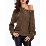 cheap Lace Up Criss-Cross Long Sweater