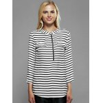 cheap Zip Front Striped Blouse