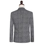 Plus Size Lapel Single Breasted Small Grid Long Sleeve Three-Piece Suit ( Blazer + Waistcoat + Pants ) deal