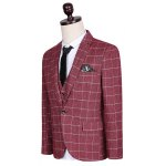 cheap Plus Size Lapel Single Breasted Checked Pattern Long Sleeve Three-Piece Suit ( Blazer + Waistcoat + Pants )