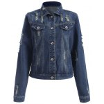 Fashionable Buttoned Broken Hole Women's Denim Jacket