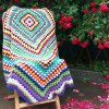 Ethnic Style Knitted Rhombus Geometry Soft Sofa Blanket