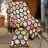 Comfortable Knitted Hexagon Blanket and Pillow Bedding Set