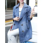 cheap Double-Breasted Pocket Design Letter Print Coat