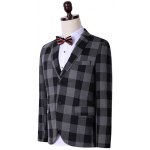 cheap Plus Size Lapel Single Breasted Checked Long Sleeve Three-Piece Suit ( Blazer + Waistcoat + Pants )