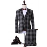 Plus Size Lapel Single Breasted Checked Long Sleeve Three-Piece Suit ( Blazer + Waistcoat + Pants )