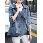3/4 Sleeve Double-Breasted Broken Hole Denim Jacket for sale