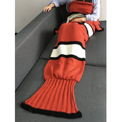 Knitting Fish Tail Shape with Fins Design Blanket