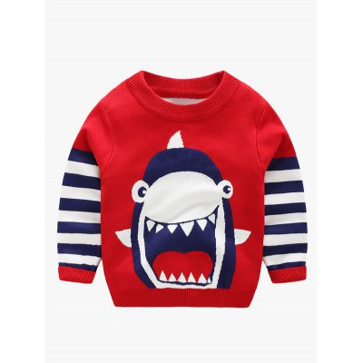 Round Neck Shark Print Striped Sweater