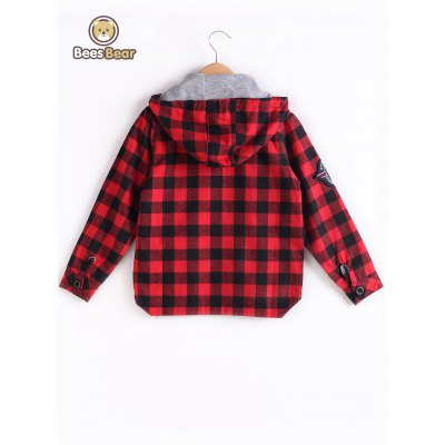 Hooded Plaid Label Spliced CoatBoys Clothing<br>Hooded Plaid Label Spliced Coat<br><br>Clothes Type: Jackets<br>Material: Polyester<br>Collar: Hooded<br>Clothing Length: Regular<br>Style: Fashion<br>Sleeve Length: Long Sleeves<br>Season: Fall,Spring<br>Weight: 0.387kg<br>Package Contents: 1 x Coat
