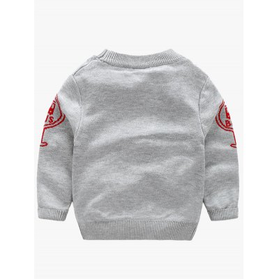 Round Neck Letter and Bus Pattern Sweater