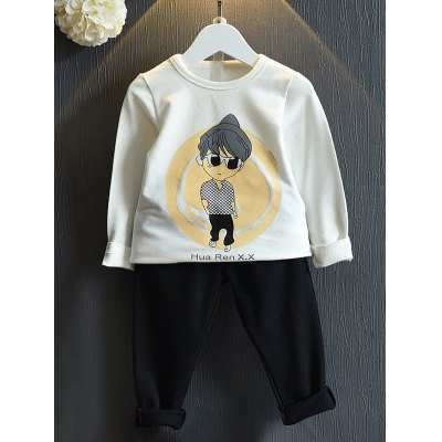 Pullover Cartoon Print Sweatshirt + Pants