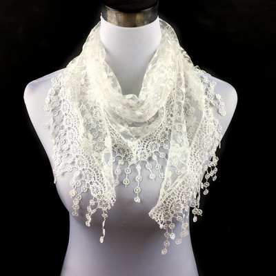 Casual Wintersweet Embroidery Tassel Triangle Scarf