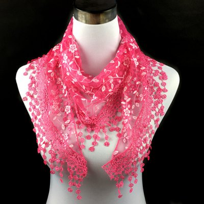 Casual Wintersweet Embroidery Tassel Triangle Lace Scarf