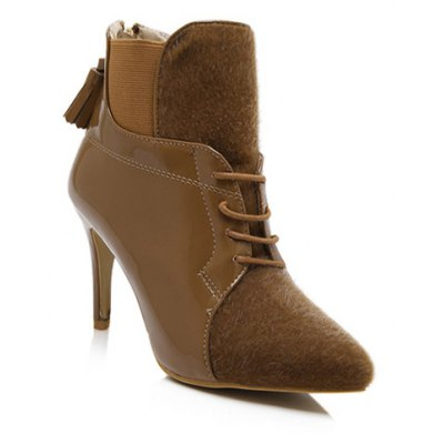 Splicing Tassels Ankle Boots