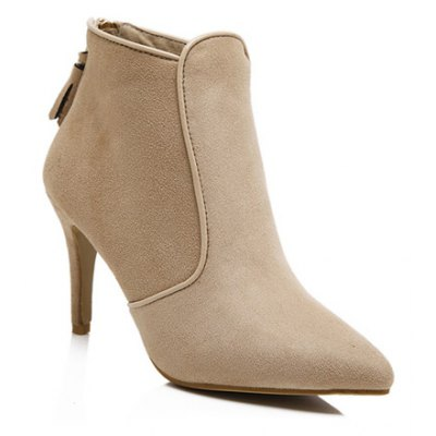 Flock Zipper Ankle Boots