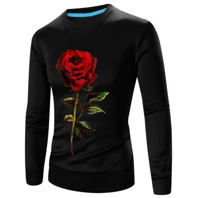 3D Rose Print Crew Neck Long Sleeve Sweatshirt