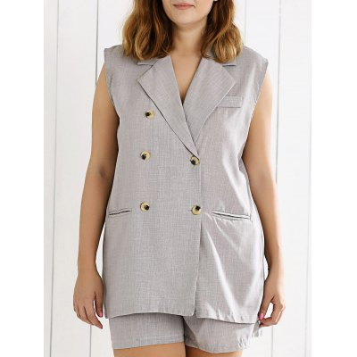 Sleeveless Double Breasted Vest and Shorts Suit