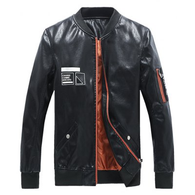 Rib Spliced Zip Up Long Sleeve Faux Leather Jacket