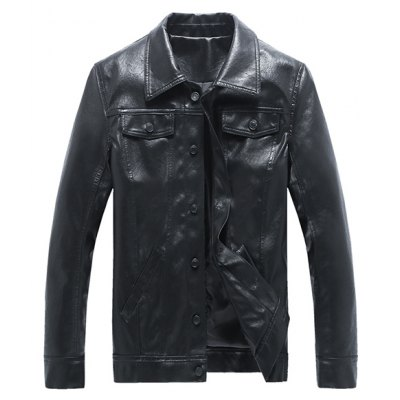 Button Up Turn-down Collar Long Sleeve Faux Leather Jacket