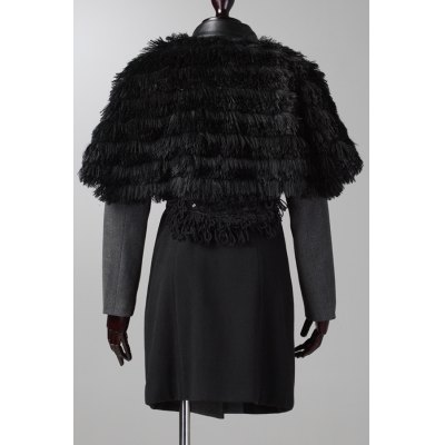 Long Sleeve Wool Coat With Faux Fur Cape