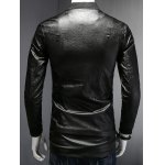 Stand Collar Letter Print PU-Leather Long Sleeve Jacket for sale
