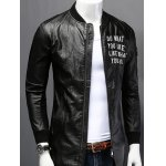 cheap Stand Collar Letter Print PU-Leather Long Sleeve Jacket