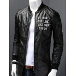 Stand Collar Letter Print PU-Leather Long Sleeve Jacket deal