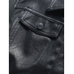 Button Up Turn-down Collar Long Sleeve Faux Leather Jacket deal