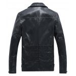 cheap Side Zip Up Turn-down Collar Rivet Embellished Faux Leather Jacket