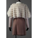 cheap Long Sleeve Wool Coat With Faux Fur Cape
