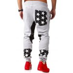 cheap Star Patchwork Drop Crotch Joggers