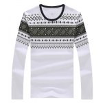 Geometric Print Round Neck Long Sleeve T-Shirt deal