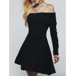 Off The Shoulder Long Sleeves A Line Dress