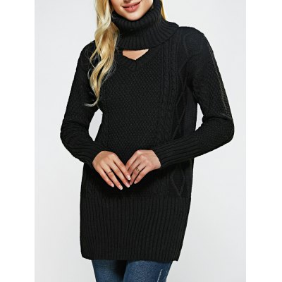 High Neck Hollow Out Loose-Fitting Sweater