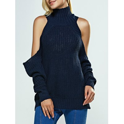 Cold Shoulder Turtle Neck Pure Color Sweater
