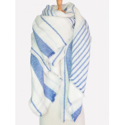Casual Different Stripe Pattern Fringed Shawl Scarf
